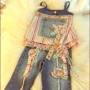 Little Mass Boutique two-piece Jean set size 5